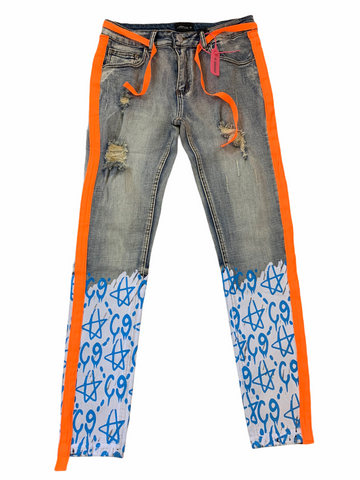 Cooper 9 'C9 Graffiti' Stripe Denim (Lt.Blue/Orange)