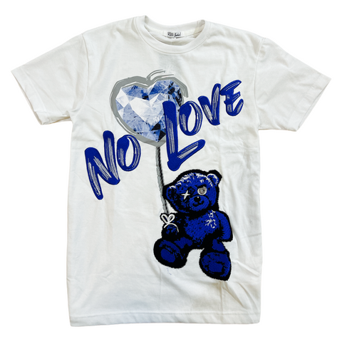 Retro Label 'No Love' T-Shirt (White/Royal)