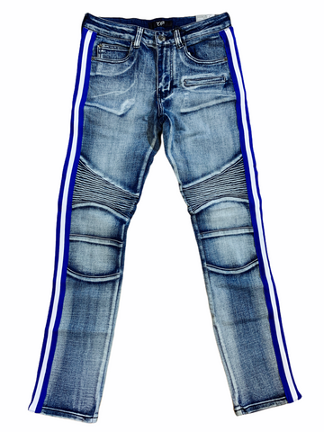 Ops Moto Denim w/ Side Stripe (Blue Wash/Royal/White)