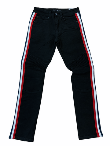 Ops Moto Denim w/ Side Stripe (Black/Red/White/Navy)