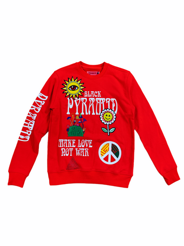 Black Pyramid 'Make Love Not War' Crewneck (Red)