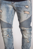 KDNK Destroyed Moto Ankle Zip Denim (Med. Vintage)