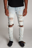 KDNK Painter Splatter Ankle Zip Denim (Vintage Lt.Blue)