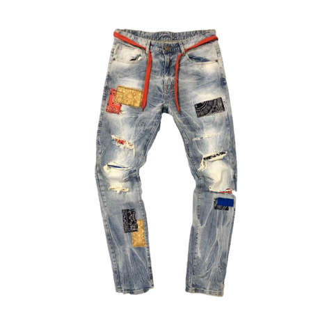 Kloud9 Span Denim w/ Bandana Patches (Mid Blue)