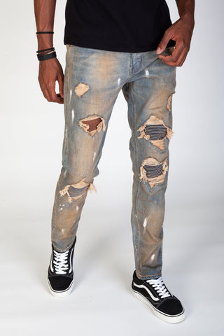 KDNK Pintuck Patched Jeans (Tinted Med. Blue)