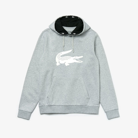 Lacoste SPORT Oversized Croc Fleece Hoodie (Grey)