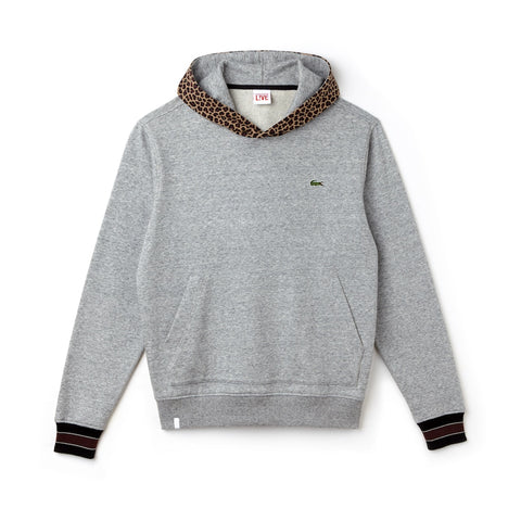 Lacoste LIVE Leopard Print Hoodie (Gray)
