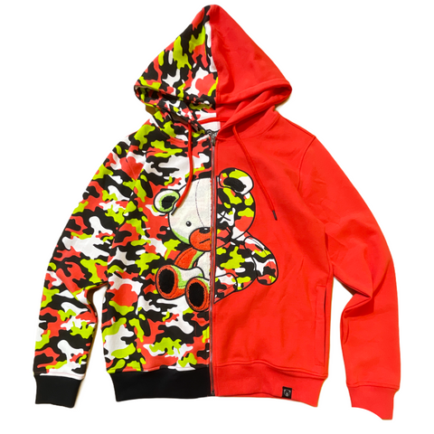 CIVILIZED CORAL CAMO BEAR HOODIE