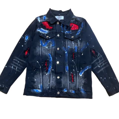 DNA Rhinestone Denim Jacket - Blk/Red/Blue