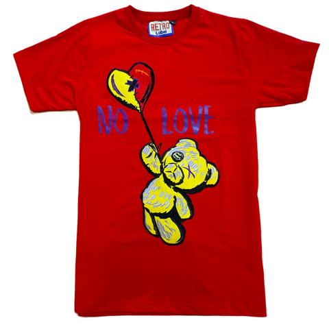 Retro Label 'No Love' T-Shirt (Red)