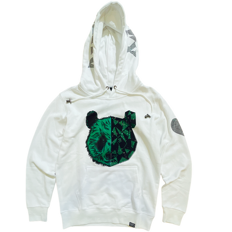 Denim City 'Panda' Rhinestone Hoodie (White/Green)