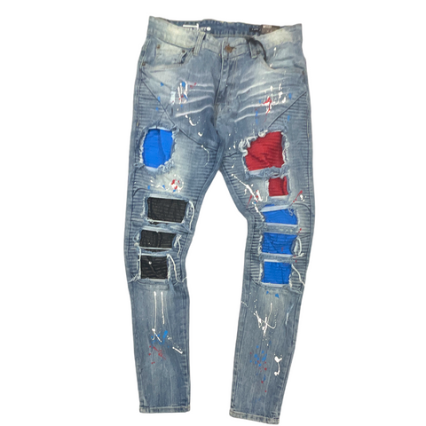 Copper Rivet Pintuck Patched Denim (Red/Wht/Blue)
