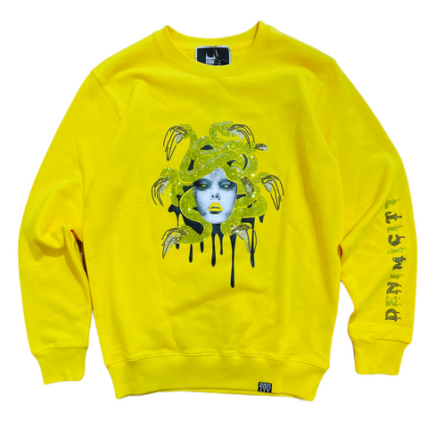 Denim City 'Medusa' Rhinestone Crewneck (Yellow)