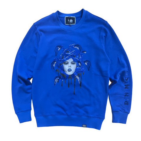 Denim City 'Medusa' Rhinestone Crewneck (Royal Blue)
