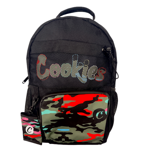 COOKIES ESCOBAR SMELL PROOF CAMO PIECED POLY CANVAS BACKPACK W/ HEAVY DUTY PLASTIC ZIPPERS, INSET MESH POCKET & FRONT CARGO POCKET (1548A4630)
