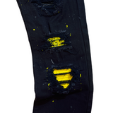 Denim City Ripped Denim w/ Stones (Black/Yellow)