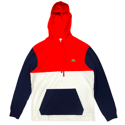 Lacoste Colorblock Jersey T-Shirt Hoodie (White/Red/Navy)
