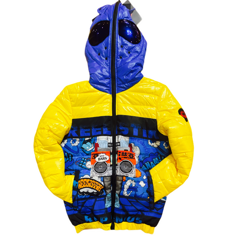 Reelistik 'Spit Bars' Puffer Jacket (Blue/Yellow)