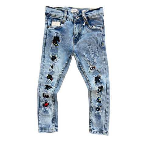 Evolution Kids Ripped Denim w/ Paint (Ice Blue)
