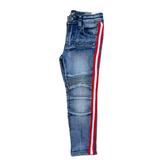 Ops Kids Biker Denim w/ Stripe (Blue/Red/White)