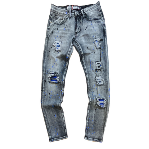 Denim City Ripped Denim w/ Stones (Grey Wash/Royal/Black)