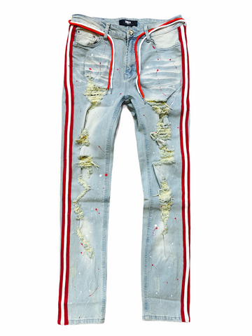 DNA Stripe Denim Red-White - Fresh N Fitted