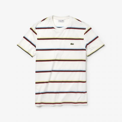Lacoste Crew Neck Striped T-Shirt (Cream)