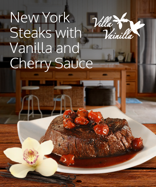 New York Steaks with a Vanilla and Cherry Sauce
