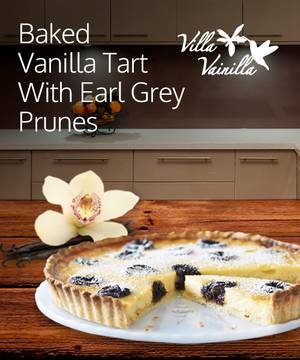 Baked Vanilla Tart with Earl Grey Prunes