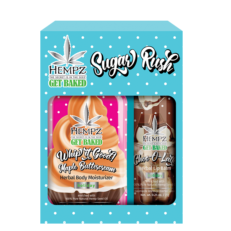 Hempz Sugar Rush Duo - Lip Balm & Holiday Moisturizer Mini Kit