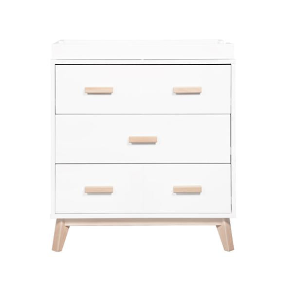BABYLETTO SCOOT 3 DRAWER CHANGER / DRESSER, WHITE / WASHED NATURAL