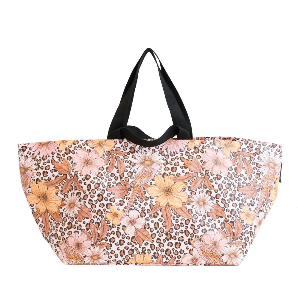BEACH BAG, LEOPARD FLORAL