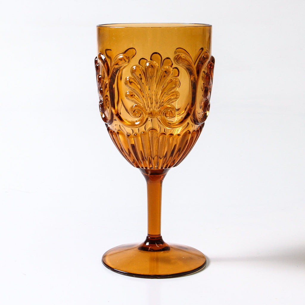 ACRYLIC WINE GLASS, AMBER (Set of 2)