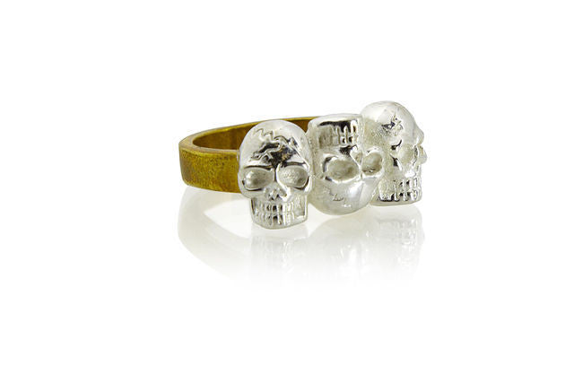 TRIO OF SKULLS RING - barton&bell