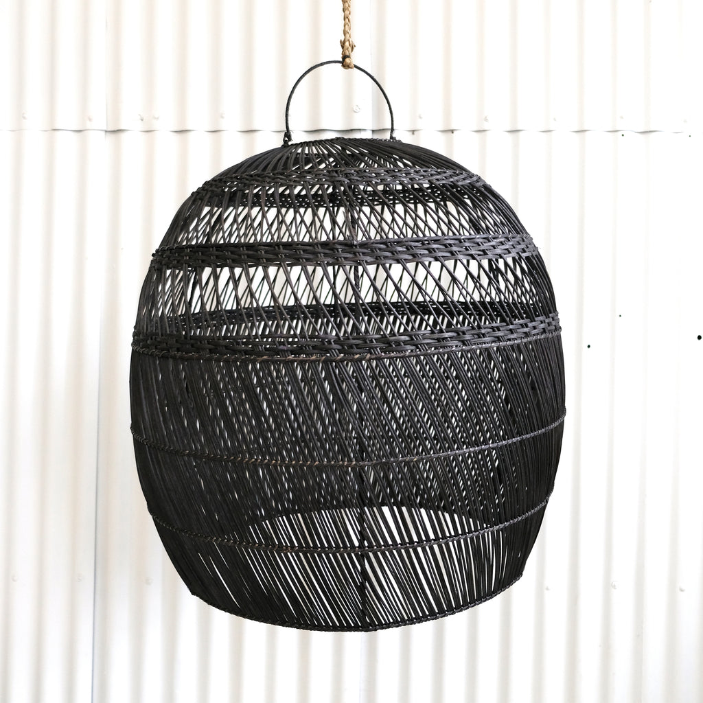 RATTAN LIGHT SHADE XL, BLACK