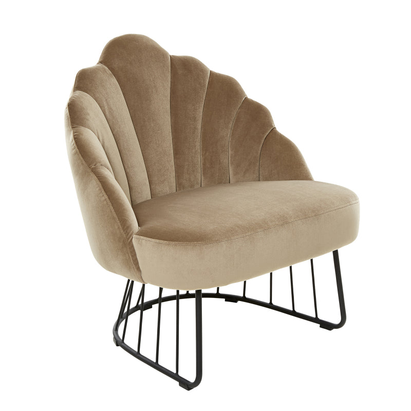 LAYLA VELVET LOUNGE CHAIR, BEIGE
