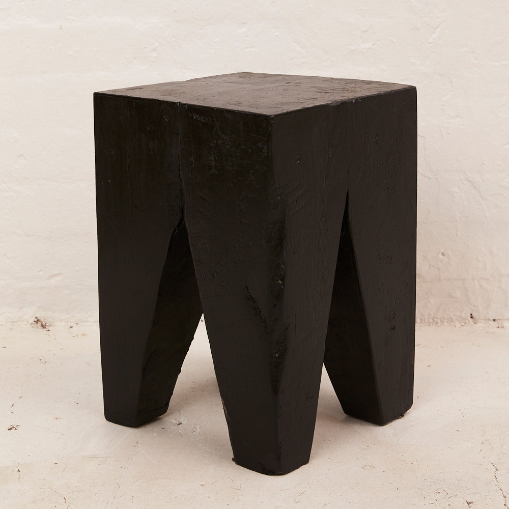 PEG STOOL / SIDE TABLE, BLACK
