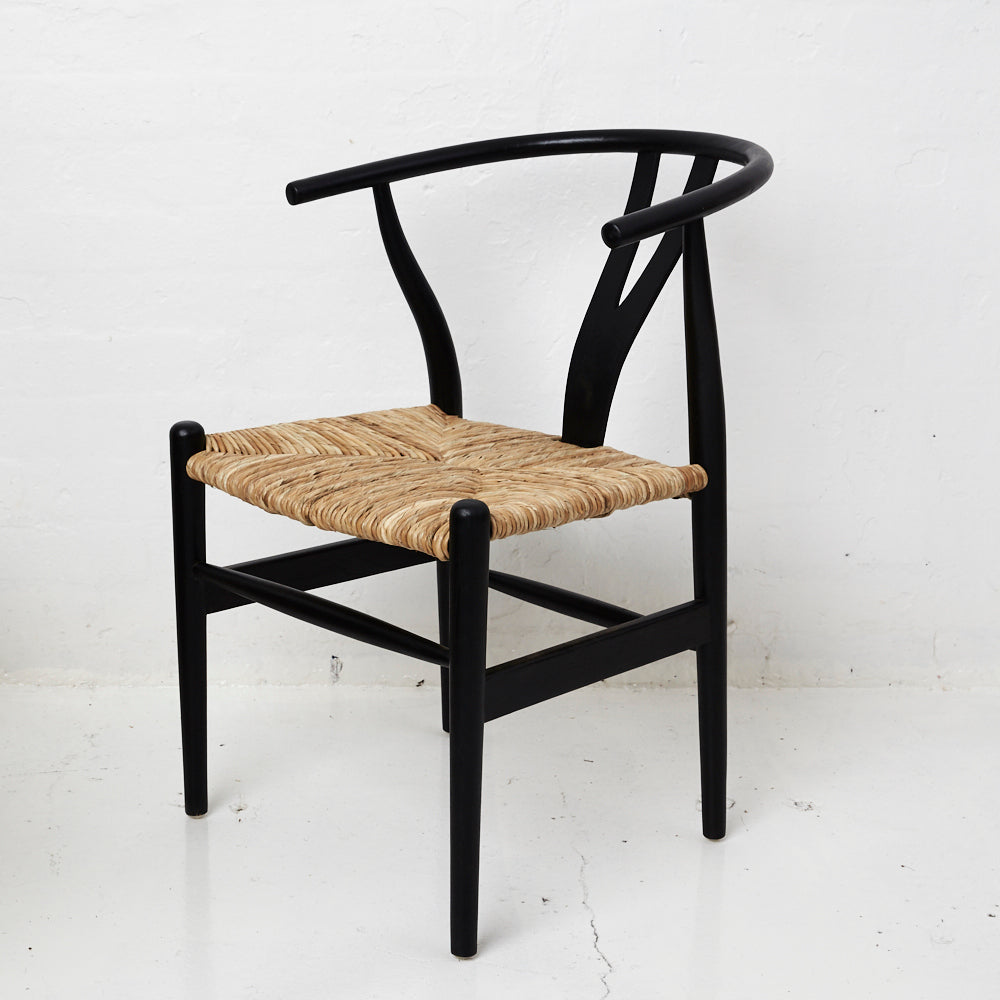 TEAK WISHBONE CHAIR, BLACK