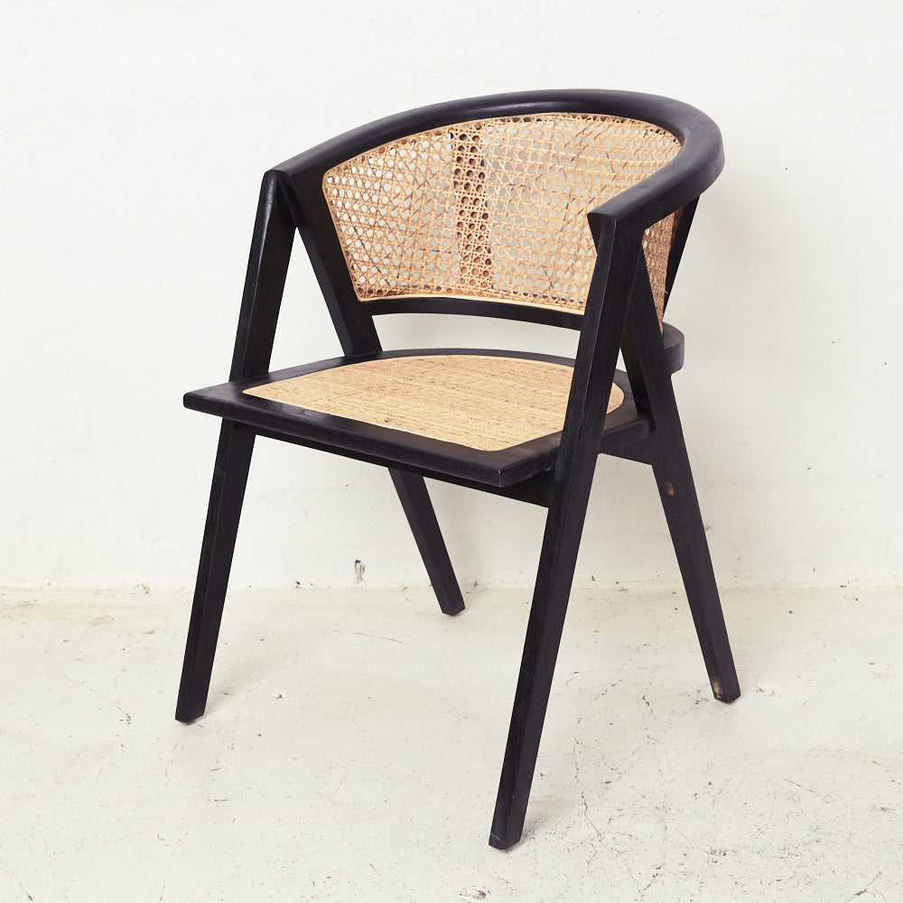 AMALIA RATTAN ROUNDED DINING CHAIR, BLACK