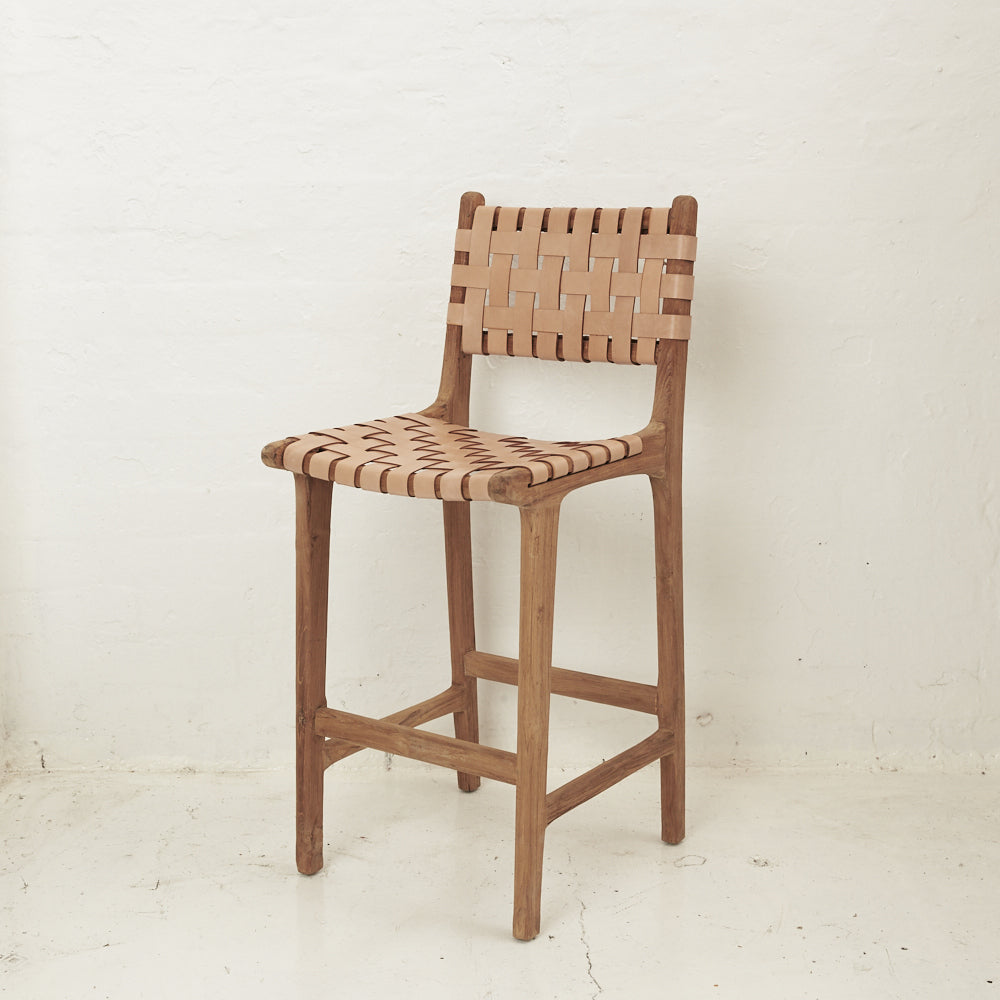 LUKA WOVEN LEATHER BAR STOOL