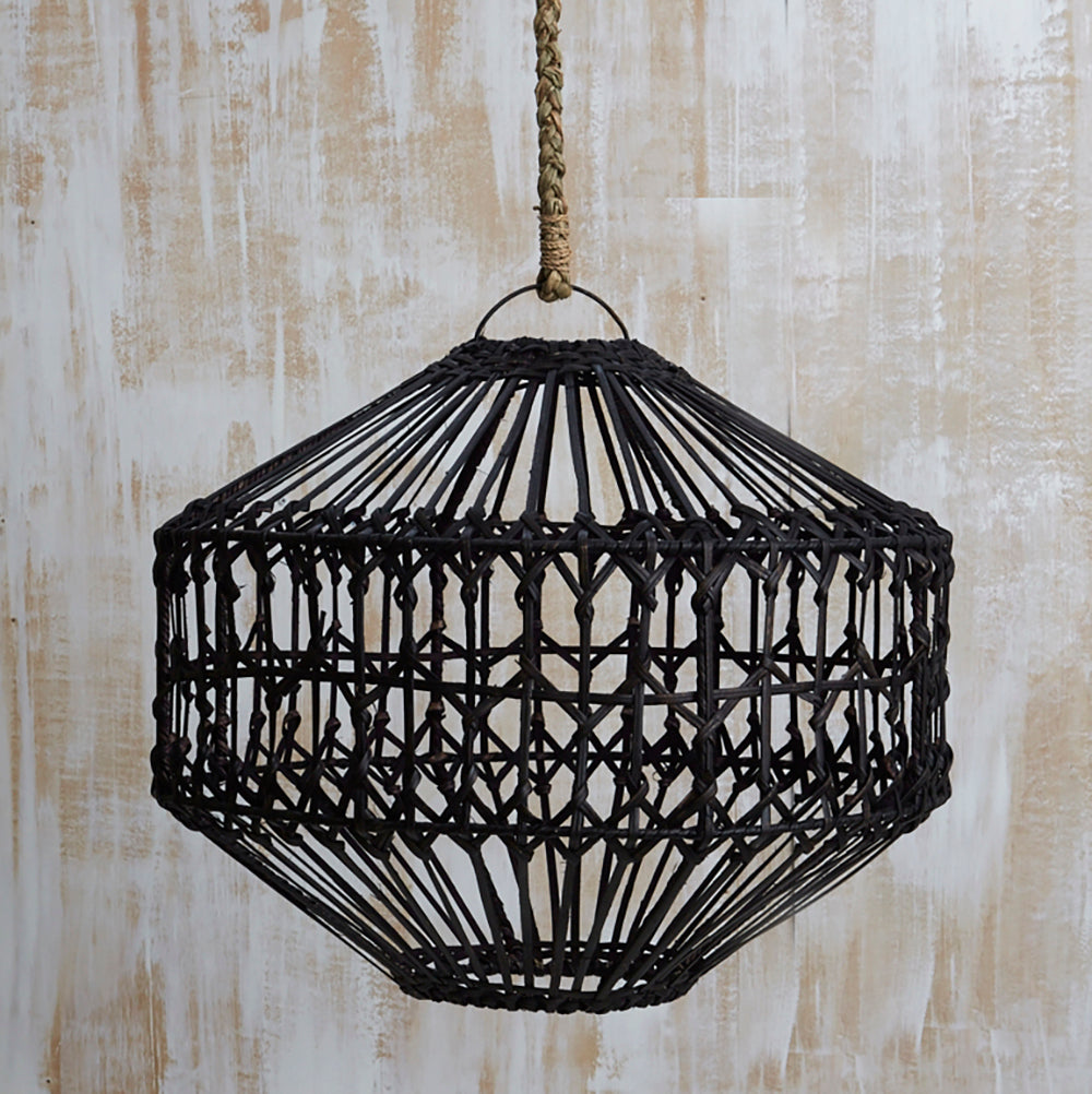 RATTAN HEX LIGHTSHADE, BLACK