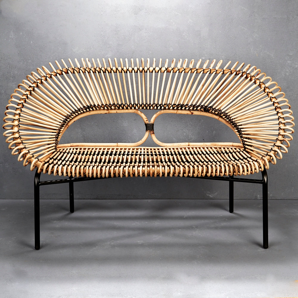 NATURAL RATTAN LOVESEAT WITH BLACK TRIM