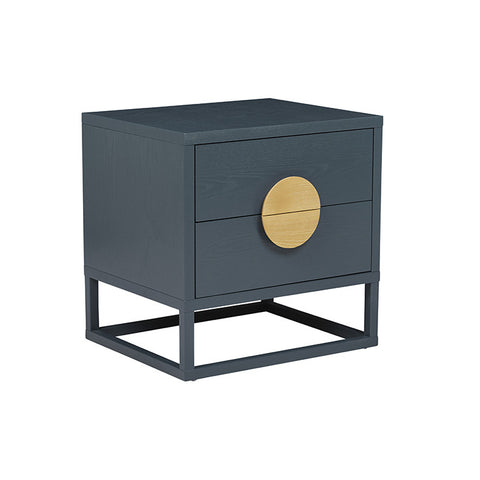 BENJAMIN BEDSIDE TABLES, DARK TEAL/NATURAL ASH