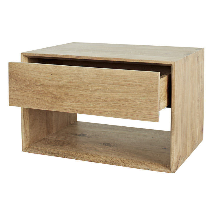ETHNICRAFT NORDIC 1 DRAWER BEDSIDE , OAK
