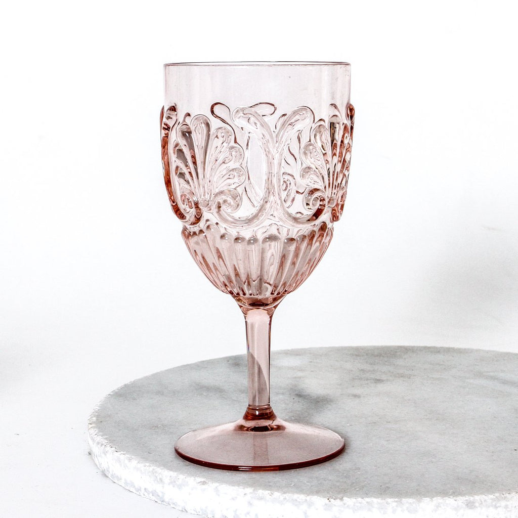 ACRYLIC WINE GLASS, PINK (Set of 2)