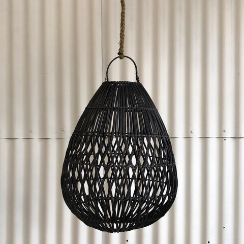 RATTAN TEARDROP LIGHTSHADE, BLACK