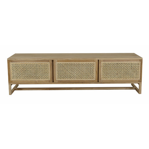 WILLOW WOVEN ENTERTAINMENT UNIT, TEAK