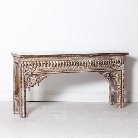 INDIAN CONSOLE WITH MARBLE TOP
