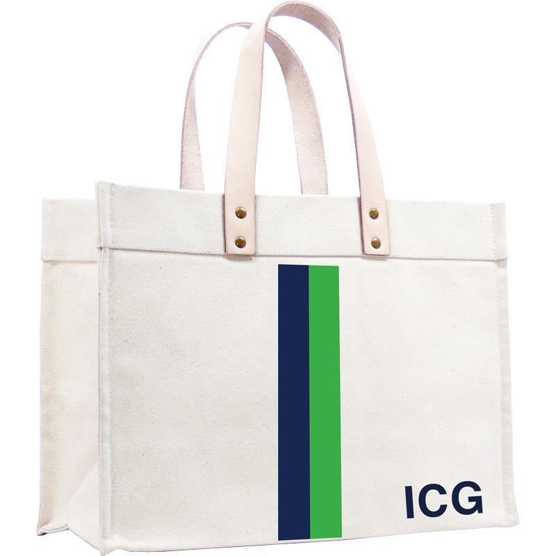 Parker Thatch Classic Canvas Tote - Racer Stripe Navy and Green