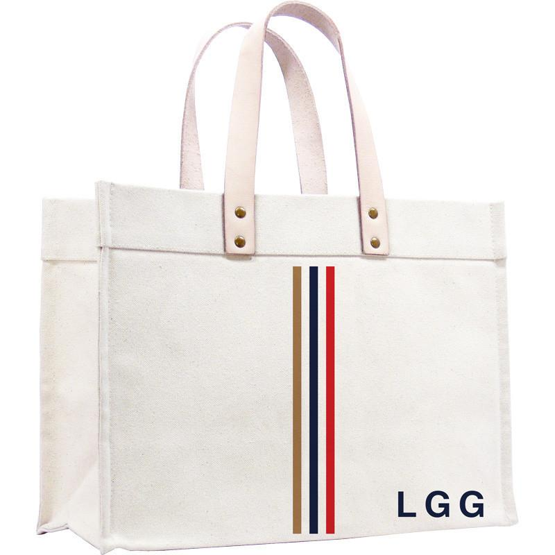 Parker Thatch - Original Classic Canvas Tote - Thin Racer Stripes Khaki Navy Red